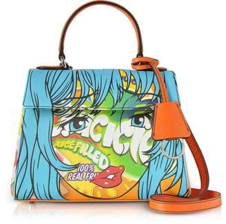 Moschino Juicicle Comic Girl Orange Eco Leather Satchel Bag w/Shoulder Strap