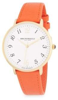 Bruno Magli Stainless Steel and Leather-Strap Watch