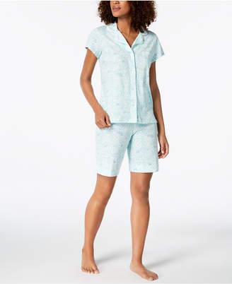 Miss Elaine Printed Short-Sleeve Pajama Boxer Set