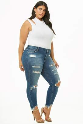 Forever 21 Plus Size Distressed Ankle Skinny Jeans