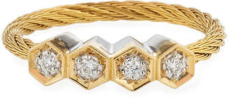 Alor 18k Yellow Gold & Stainless Steel 4-Diamond Cable Ring, Size 7