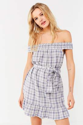 Urban Outfitters Off-The-Shoulder Plaid Ruffle Dress
