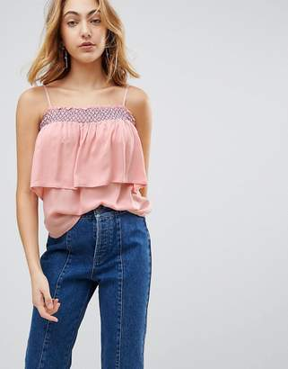 Bardot Lunik Ruffle Top With Embroiderry. Trim