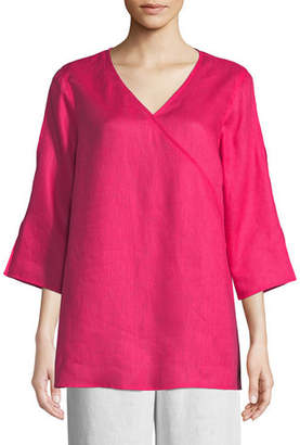 Caroline Rose Tissue Linen V-Neck Havana Top, Plus Size