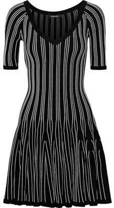 Cushnie et Ochs Fluted Striped Stretch-Knit Mini Dress