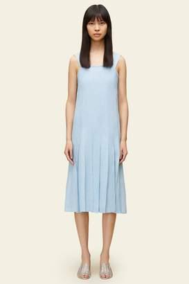 Mansur Gavriel Linen Pleated Drop Waist Dress