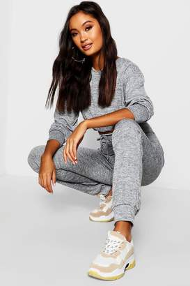 boohoo Knitted Rouched Crop Top Set