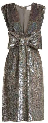 Ashish Bow Front Sequin Embellished Sleeveless Dress - Womens - Dark Grey