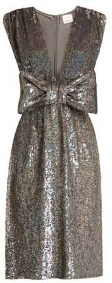 Ashish - Bow Front Sequin Embellished Sleeveless Dress - Womens - Dark Grey