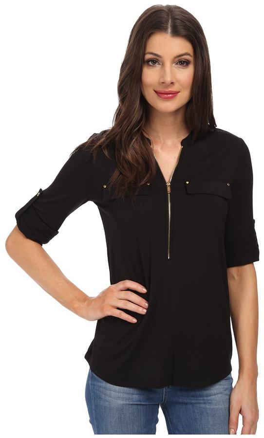 Calvin Klein - Essentials Zip Front Roll Sleeve Women's Blouse