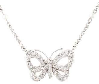 14K Pearl & Diamond Butterfly Pendant Necklace