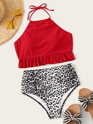 Shein Ruffle Hem Halter Top With Leopard Bikini Set