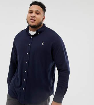 Big & Tall pique shirt player logo buttondown in navy