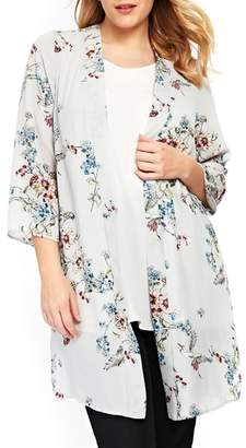 Evans Floral Sequin Kimono