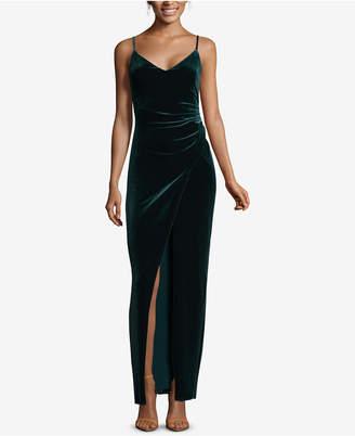 Betsy & Adam Spaghetti-Strap Velvet Gown