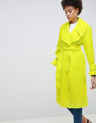 Asos DESIGN Chartreuse Belted Coat