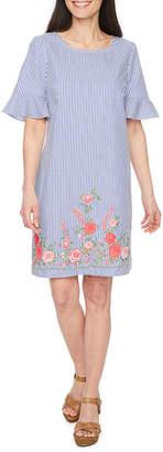 Studio 1 Short Sleeve Stripe Shift Dress-Petites