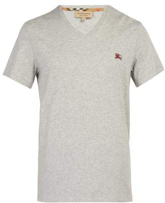 Burberry Logo Embroidered V Neck Cotton T Shirt - Mens - Grey