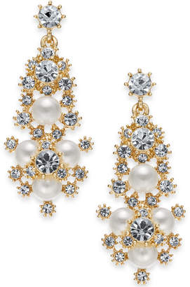 """Charter Club Large Gold-Tone Crystal & Imitation Pearl Snowflake Chandelier Earrings, 1.75"""""""