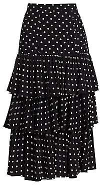 Cinq à Sept Women's Rowena Tiered Polka Dot Midi Skirt