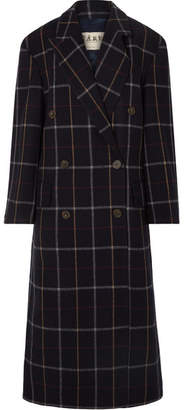 Awake Double-breasted Checked Wool-blend Coat - Navy