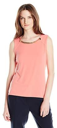 Calvin Klein Women's Sleeveless Top With Rivet and Chain