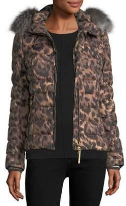 Bogner Sport Cyra Animal-Print Quilted Puffer Coat w/ Fur Trim