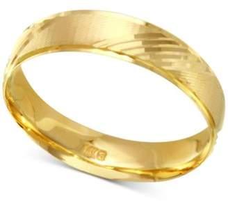 Macy's Diagonal Textured Wedding Band in 14k Gold