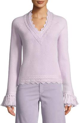 Jonathan Simkhai Scalloped V-Neck Wool Tassel-Cuff Sweater
