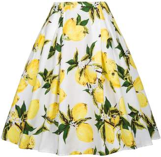 Paul Jones®Dress White with Pink Floral Skirts Classy Skirt with Pockets(2XL, C-2)