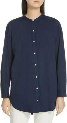 Eileen Fisher Mandarin Collar Organic Cotton Tunic Shirt