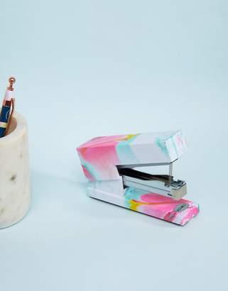 Mustard Pink Liquid Marble Stapler