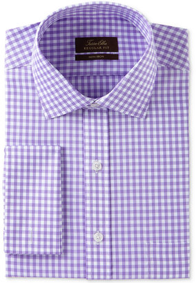 Tasso Elba Men's Classic/Regular Fit Non-Iron Lavender Herringbone Gingham French Cuff Dress Shirt, Only at Macy's $69.50 thestylecure.com