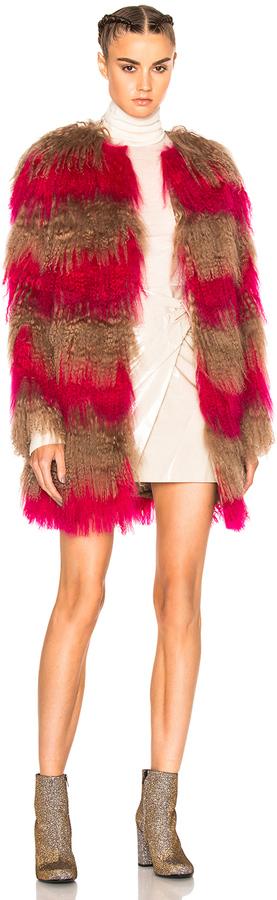MSGM Stripe Fur Coat