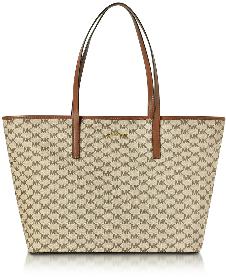 MICHAEL Michael Kors Michael Kors Emry Natural/Luggage Coated Canvas Large TZ Tote