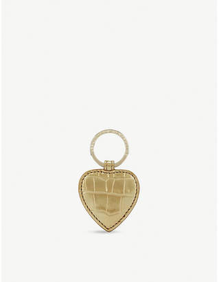 Smythson Mara heart embossed leather keyring
