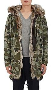 Mr & Mrs Italy Men's Fur-Lined Camouflage Cotton Canvas Parka-Green