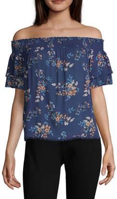 924380e075a8d REWIND Rewind Womens Straight Neck Short Sleeve Blouse-Juniors