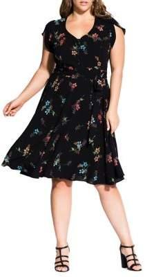 City Chic Plus Floral Fit-&-Flare Botanical Dress