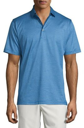 Peter Millar Fine-Stripe Lisle-Knit Polo Shirt, Blue $95 thestylecure.com