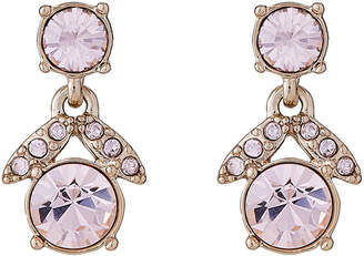 Givenchy Gold-Tone & Pink Stone Flower Drop Earrings