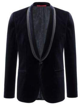 HUGO Boss Velvet Sport Coat, Extra Slim Fit Arondo 38R Dark Blue