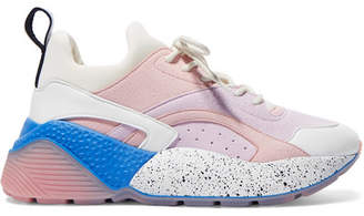 Stella McCartney Eclypse Faux Suede, Leather And Neoprene Sneakers - Baby pink
