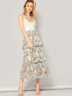 Shein Elastic Waist Floral Layered Pleated Skirt