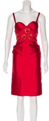 Leal Daccarett Sleeveless Knee-Length Dress Red Sleeveless Knee-Length Dress