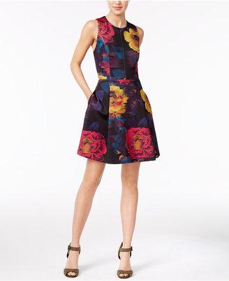 RACHEL Rachel Roy Floral-Print Scuba Fit & Flare Dress $139 thestylecure.com