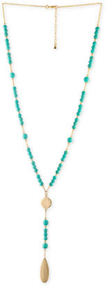 Rachel Roy Gold-Tone Blue Bead Y-Neck Necklace