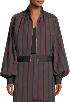 Rosetta Getty Barcode Stripe Cotton Balloon Jacket
