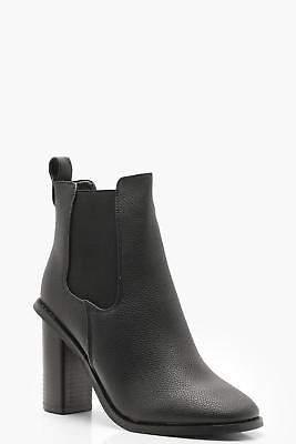 boohoo NEW Womens Elastic Gusset Block Heel Shoe Boots in