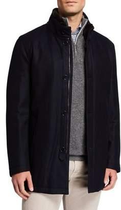 Mandelli Men's Wool-Blend Jacket w/ Fur Trim